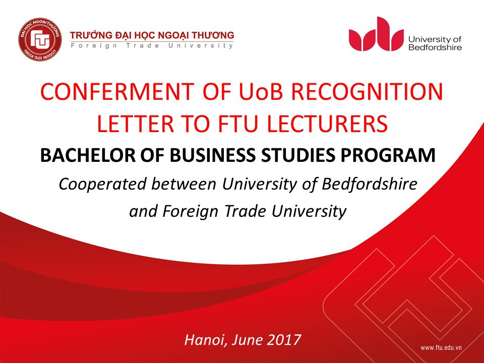 Recognition for Lecturers of joint training programs from University of Bedfordshire (UK) in 2017