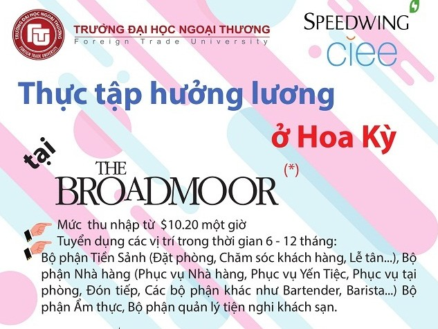 THE BROADMOOR WORK AND TRAVEL 2019 - THỰC TẬP HƯỞNG...